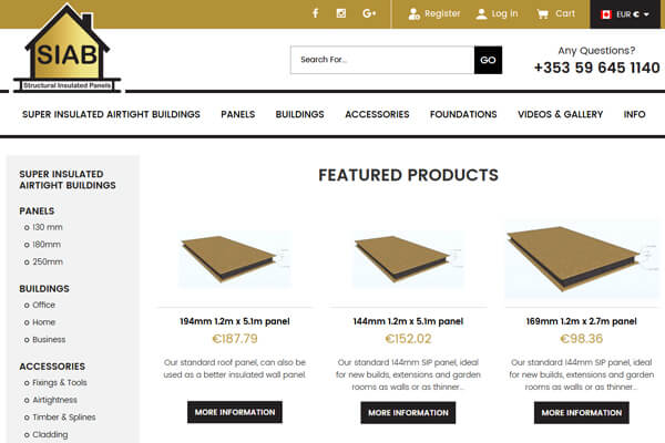Insulation Website including Magento Shop